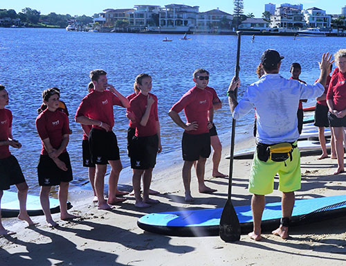 group of surfers listening to instructor